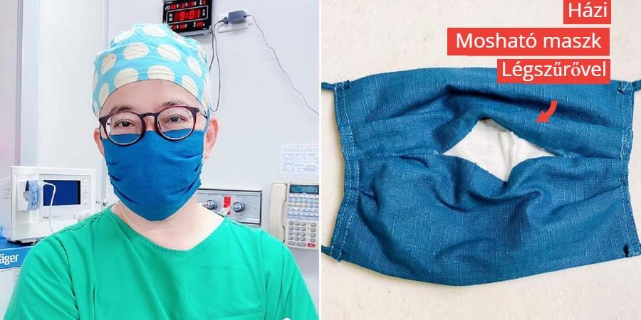 házi készítésű, mosható száj maszk légszűrővel